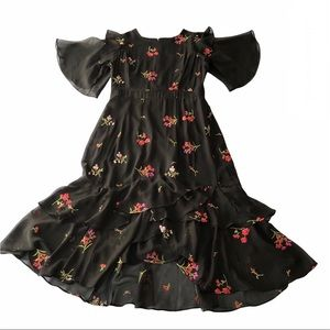 GABBY SKYE Black embroidered Floral high low flowy dress